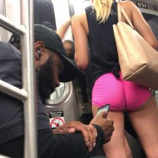 Hot butt of girl in subway train