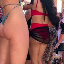 Bubble butt of slut dancing during party